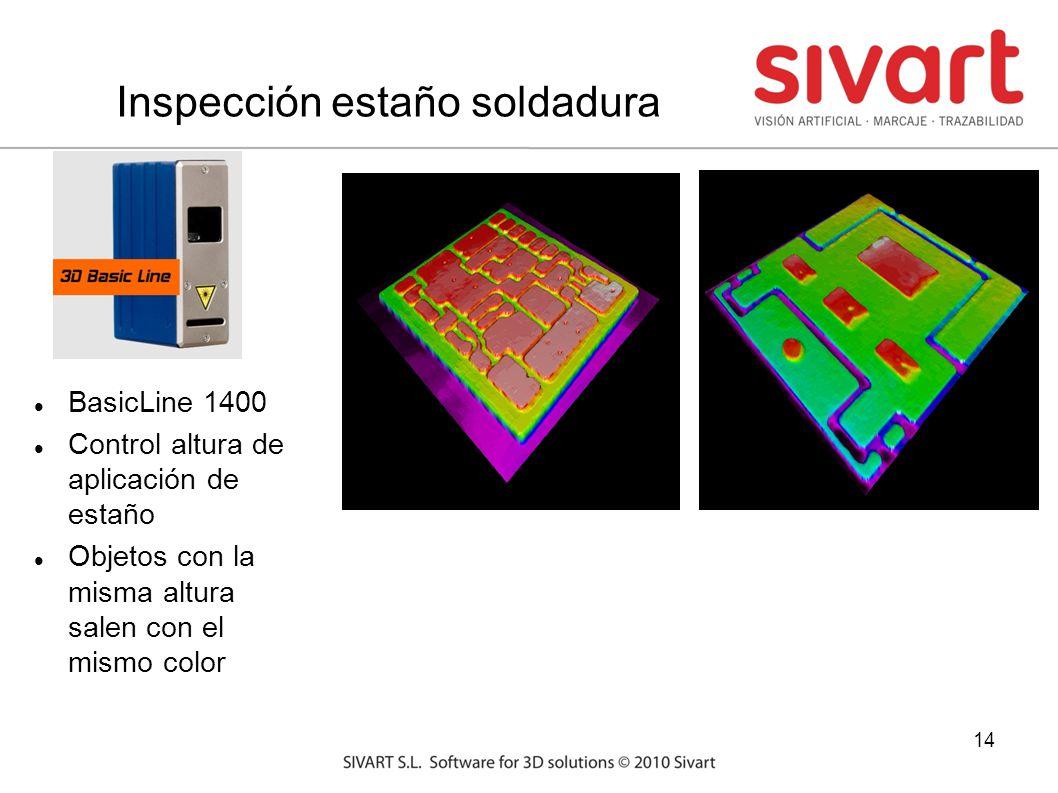 14 Inspección estaño soldadura BasicLine 1400 Control altura de aplicación de estaño Objetos con la misma altura salen con el mismo color