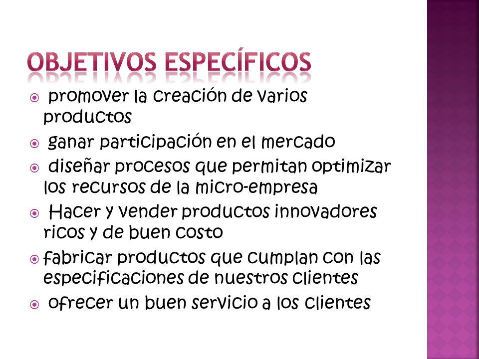 promover la creación de varios productos ganar participación en el mercado diseñar procesos que permitan optimizar los recursos de la micro-empresa Ha