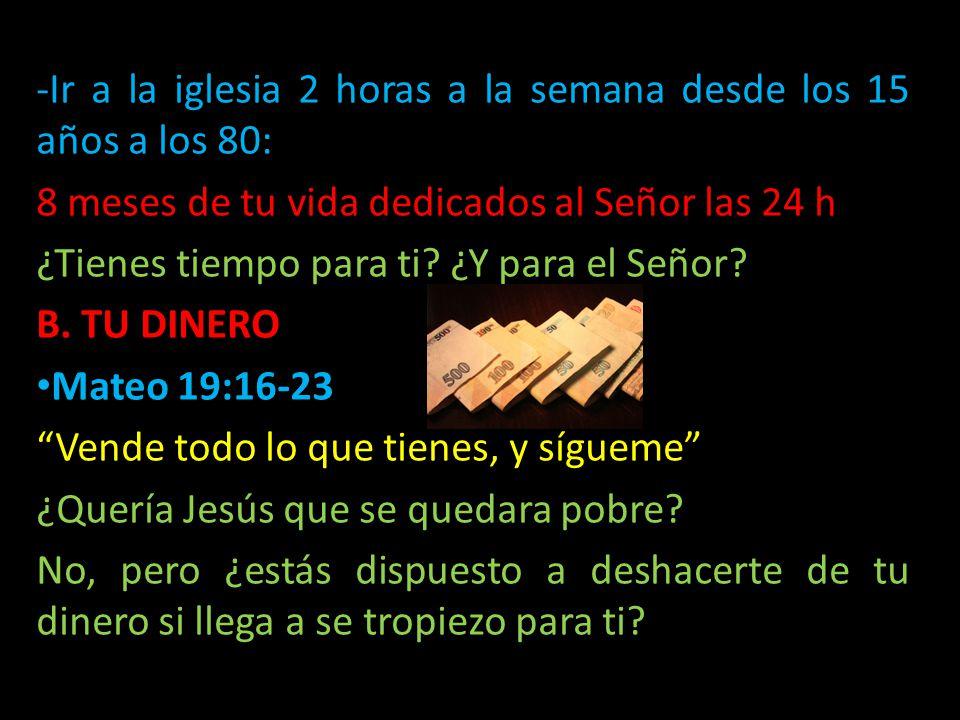 -I-Ir a la iglesia 2 horas a la semana desde los 15 años a los 80: 8 meses de tu vida dedicados al Señor las 24 h ¿Tienes tiempo para ti? ¿Y para el S