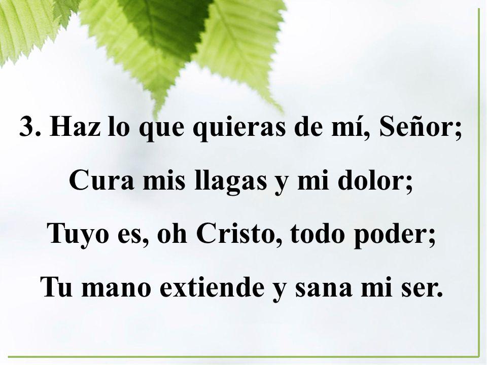3. Haz lo que quieras de mí, Señor; Cura mis llagas y mi dolor; Tuyo es, oh Cristo, todo poder; Tu mano extiende y sana mi ser.