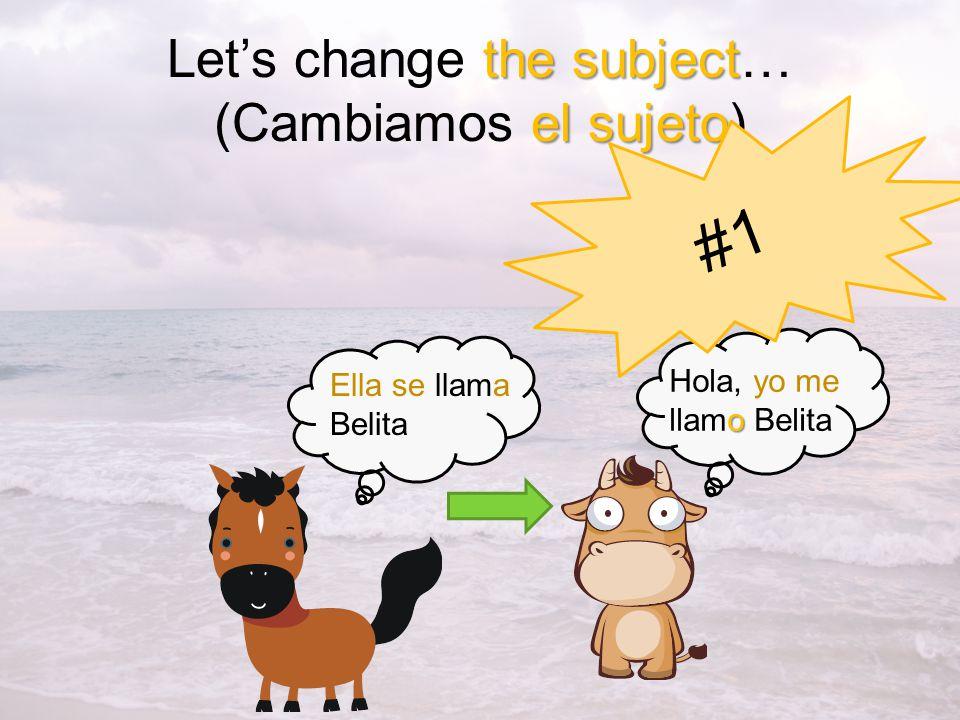 the subject el sujeto Lets change the subject… (Cambiamos el sujeto) o Hola, yo me llamo Belita Ella se llama Belita #1