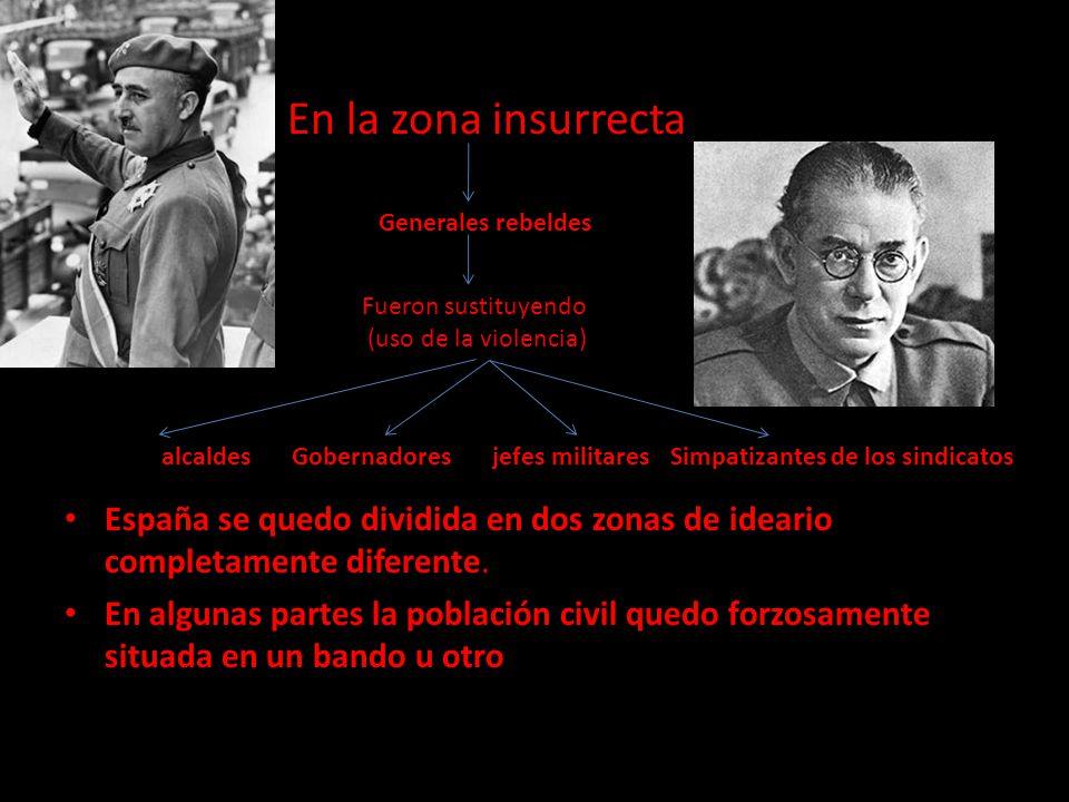 En la zona insurrecta España se quedo dividida en dos zonas de ideario completamente diferente. En algunas partes la población civil quedo forzosament