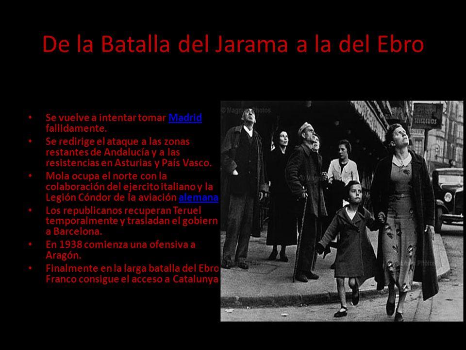 De la Batalla del Jarama a la del Ebro Se vuelve a intentar tomar Madrid fallidamente.Madrid Se redirige el ataque a las zonas restantes de Andalucía y a las resistencias en Asturias y País Vasco.