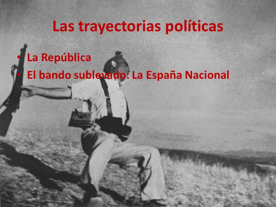Las trayectorias políticas La República El bando sublevado: La España Nacional