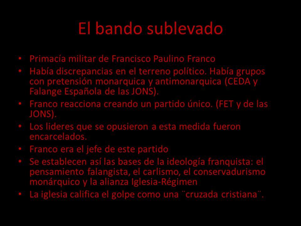 El bando sublevado Primacía militar de Francisco Paulino Franco Había discrepancias en el terreno político. Había grupos con pretensión monarquica y a