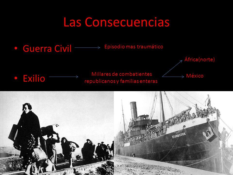 Las Consecuencias Guerra Civil Exilio Episodio mas traumático Millares de combatientes republicanos y familias enteras África(norte) México