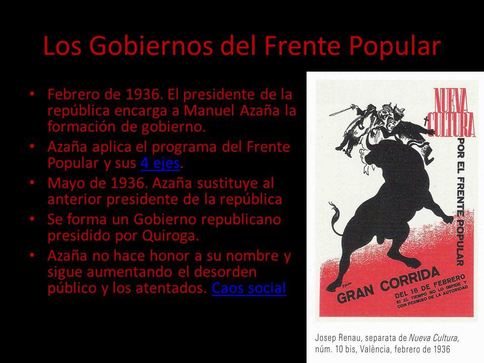 Los Gobiernos del Frente Popular Febrero de 1936. El presidente de la república encarga a Manuel Azaña la formación de gobierno. Azaña aplica el progr