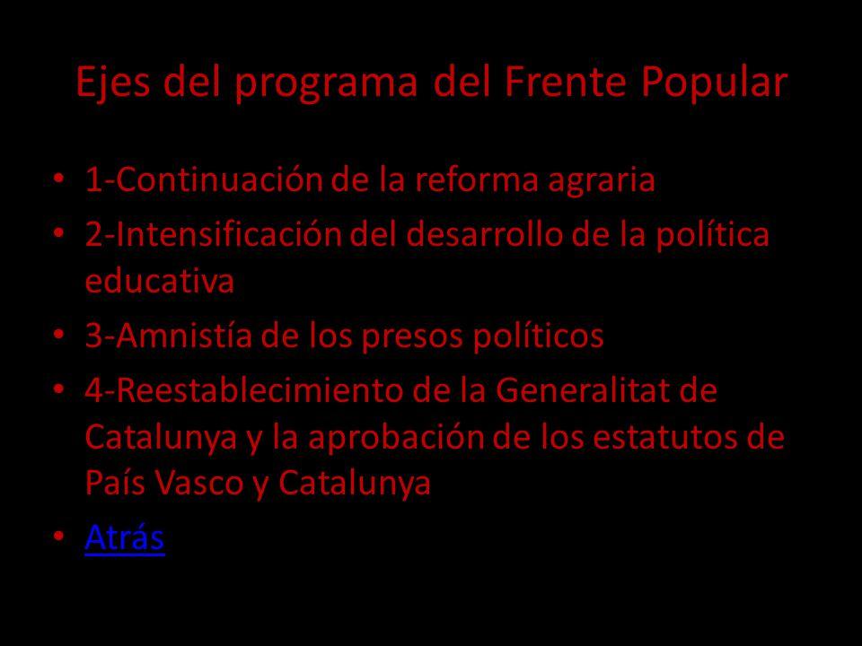 Ejes del programa del Frente Popular 1-Continuación de la reforma agraria 2-Intensificación del desarrollo de la política educativa 3-Amnistía de los