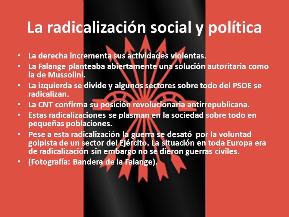 La radicalización social y política La derecha incrementa sus actividades violentas. La Falange planteaba abiertamente una solución autoritaria como l
