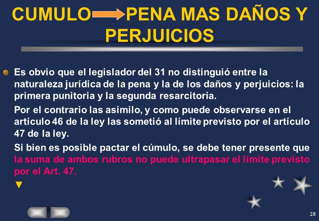 28 CUMULO PENA MAS DAÑOS Y PERJUICIOS Es obvio que el legislador del 31 no distinguió entre la naturaleza jurídica de la pena y la de los daños y perj