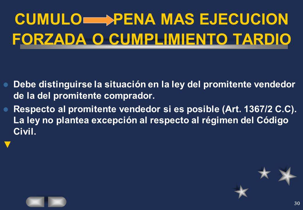 30 CUMULO PENA MAS EJECUCION FORZADA O CUMPLIMIENTO TARDIO Debe distinguirse la situación en la ley del promitente vendedor de la del promitente compr
