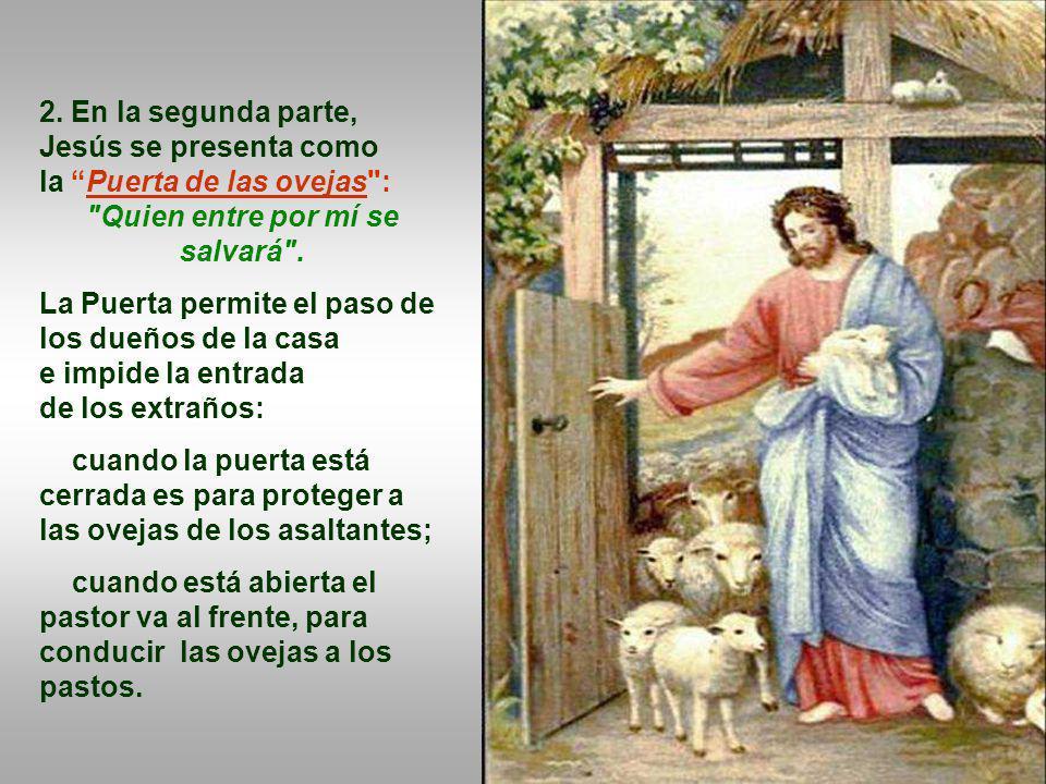 1. En la primera parte, aparece la figura del Buen Pastor, en una actitud de ternura con las ovejas... Él las conoce, las llama por el nombre, camina