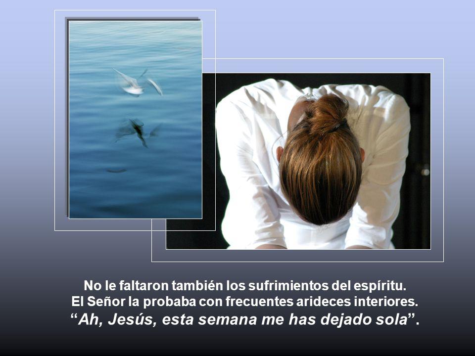 No le faltaron también los sufrimientos del espíritu. El Señor la probaba con frecuentes arideces interiores.Ah, Jesús, esta semana me has dejado sola