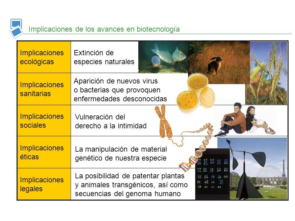 Implicaciones de los avances en biotecnología Implicaciones ecológicas Implicaciones sanitarias Implicaciones sociales Implicaciones éticas Implicacio