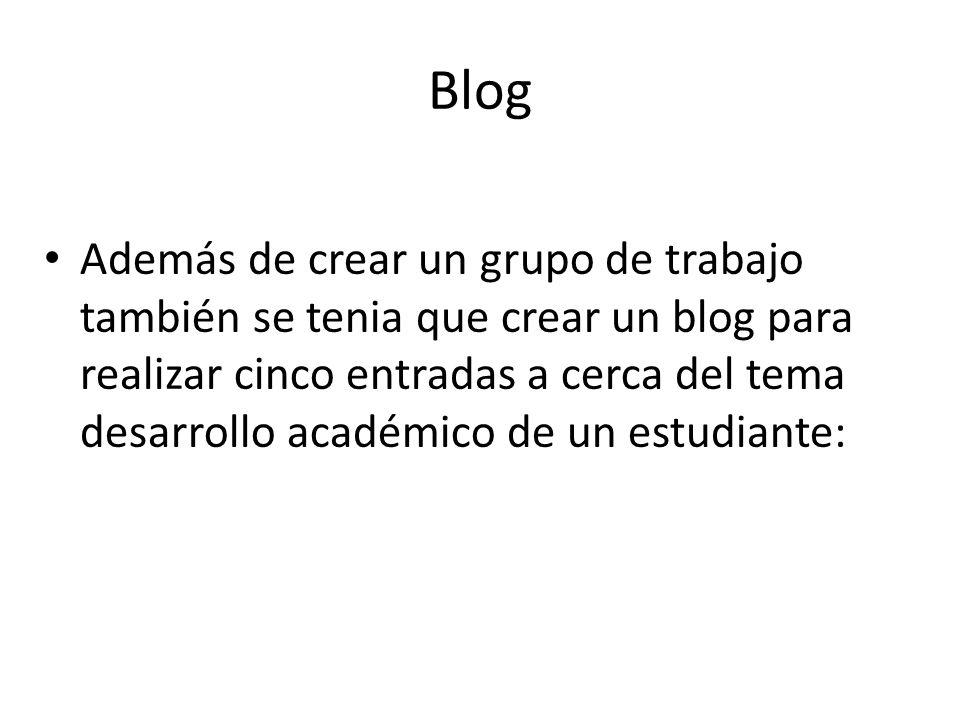 Blog Además de crear un grupo de trabajo también se tenia que crear un blog para realizar cinco entradas a cerca del tema desarrollo académico de un e