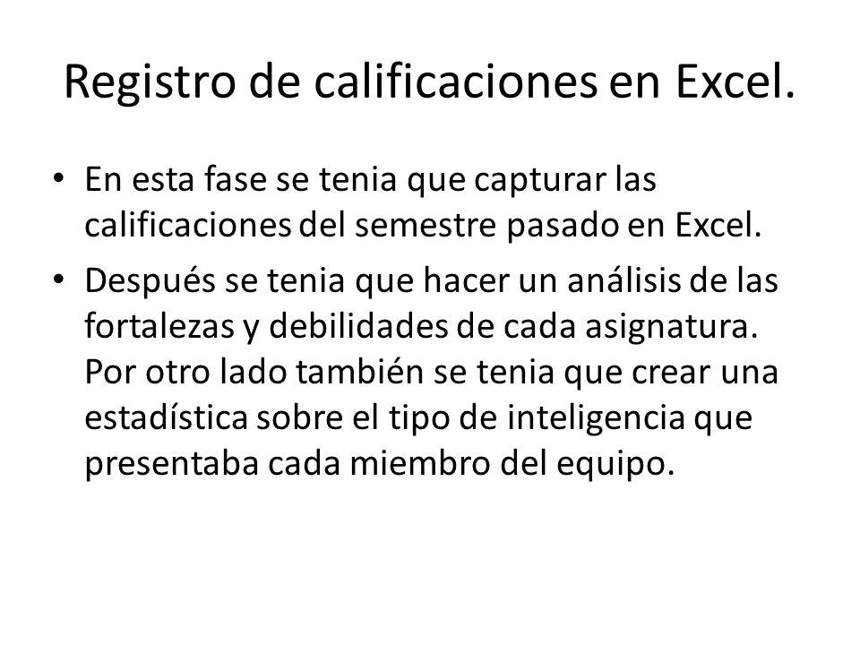 Registro de calificaciones en Excel. En esta fase se tenia que capturar las calificaciones del semestre pasado en Excel. Después se tenia que hacer un