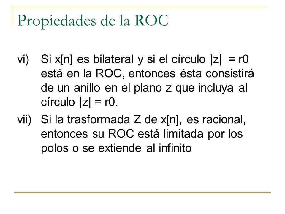 Propiedades de la ROC vi)Si x[n] es bilateral y si el círculo |z| = r0 está en la ROC, entonces ésta consistirá de un anillo en el plano z que incluya