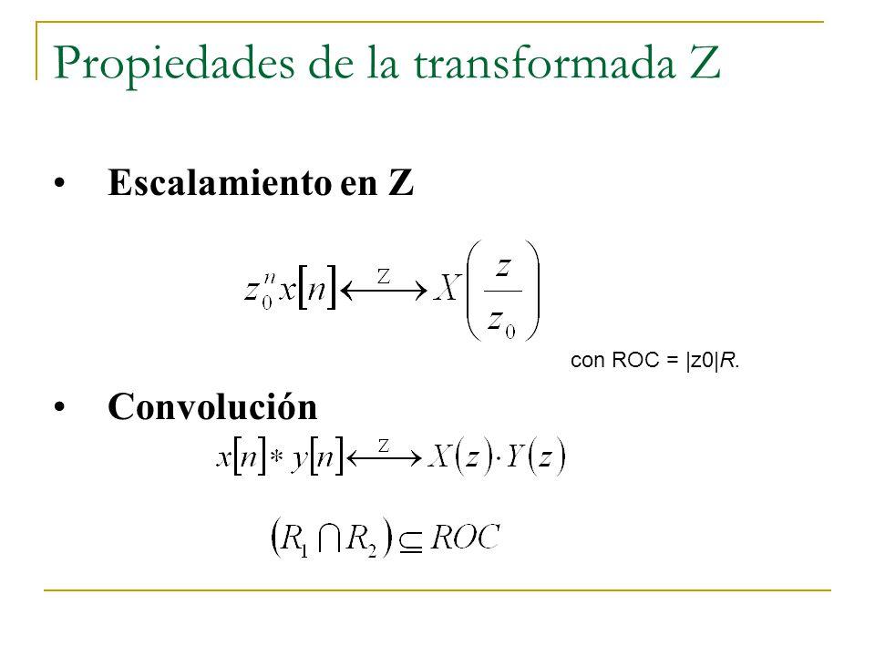 Propiedades de la transformada Z Escalamiento en Z Convolución con ROC = |z0|R.