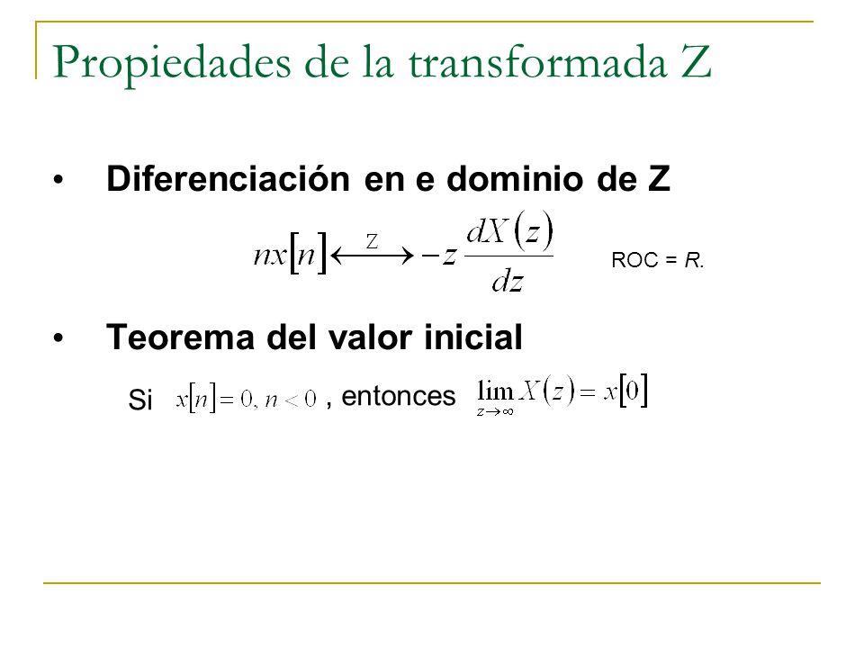 Propiedades de la transformada Z Diferenciación en e dominio de Z Teorema del valor inicial ROC = R. Si, entonces