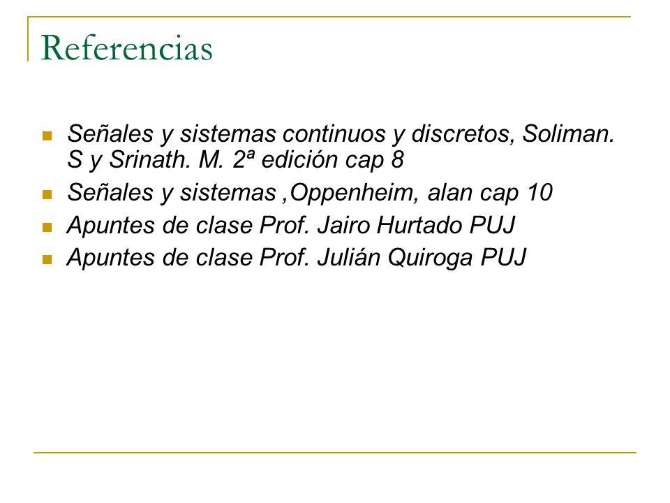 Referencias Señales y sistemas continuos y discretos, Soliman. S y Srinath. M. 2ª edición cap 8 Señales y sistemas,Oppenheim, alan cap 10 Apuntes de c
