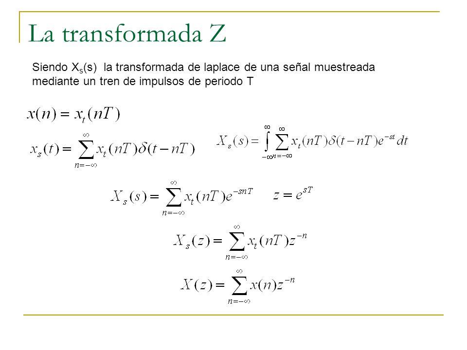 La transformada Z La transformada Z de una señal en tiempo discreto de define como: Si la señal es causal, la transformada Z bilateral cambia a la transformada Z unilateral definida como: