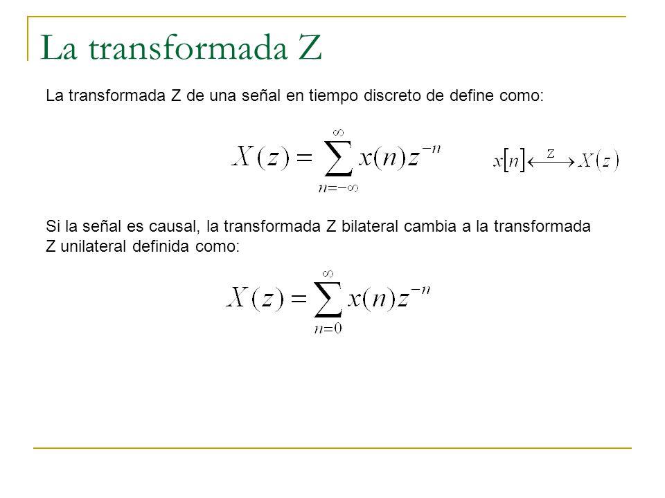 La transformada Z La transformada Z de una señal en tiempo discreto de define como: Si la señal es causal, la transformada Z bilateral cambia a la tra