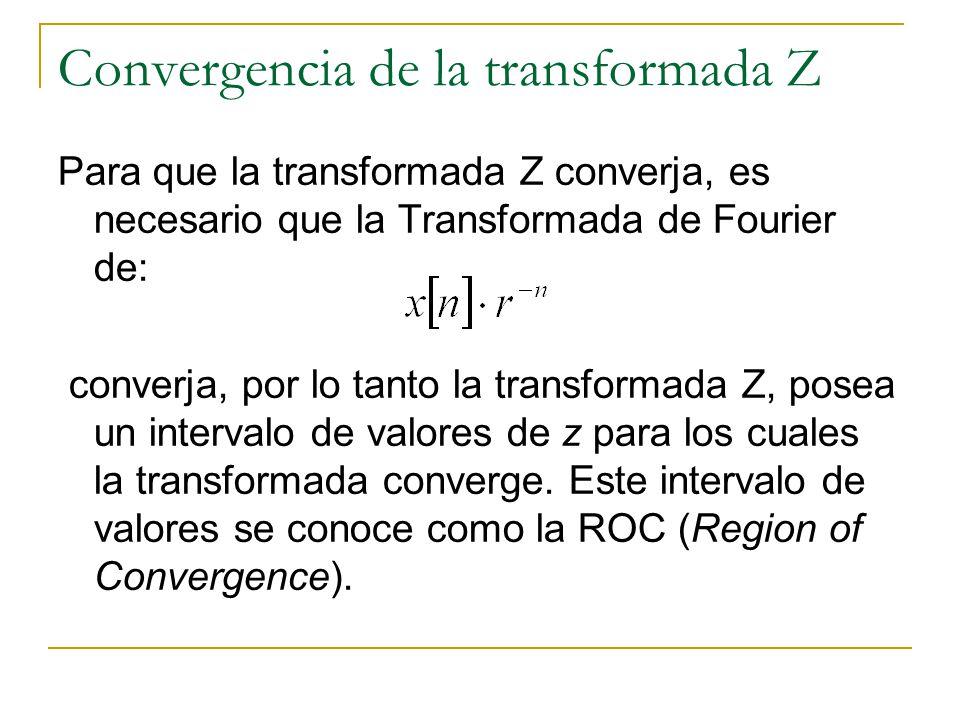 Convergencia de la transformada Z Para que la transformada Z converja, es necesario que la Transformada de Fourier de: converja, por lo tanto la trans