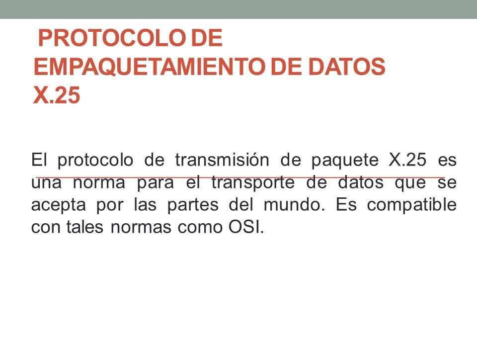 PROTOCOLO DE EMPAQUETAMIENTO DE DATOS X.25 El protocolo de transmisión de paquete X.25 es una norma para el transporte de datos que se acepta por las partes del mundo.