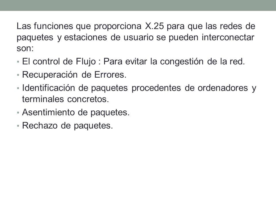 Las funciones que proporciona X.25 para que las redes de paquetes y estaciones de usuario se pueden interconectar son: El control de Flujo : Para evitar la congestión de la red.
