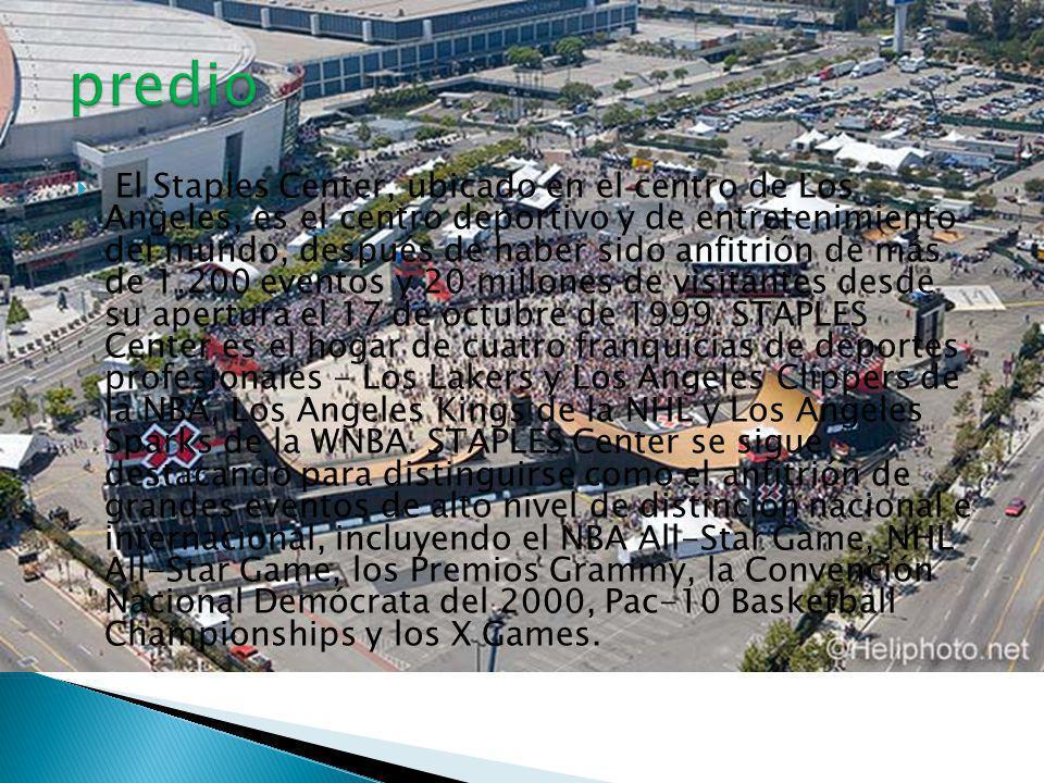 El Staples Center, ubicado en el centro de Los Angeles, es el centro deportivo y de entretenimiento del mundo, después de haber sido anfitrión de más de 1.200 eventos y 20 millones de visitantes desde su apertura el 17 de octubre de 1999.