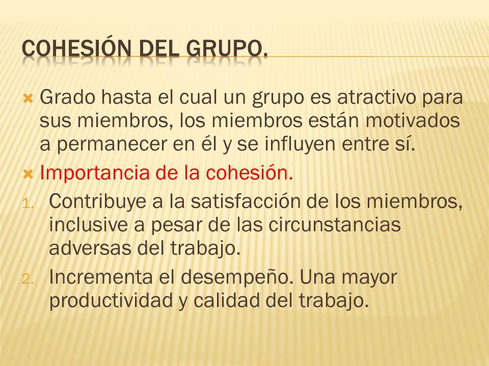 Grado hasta el cual un grupo es atractivo para sus miembros, los miembros están motivados a permanecer en él y se influyen entre sí.