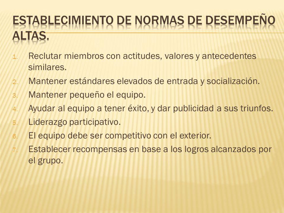 1.Reclutar miembros con actitudes, valores y antecedentes similares.