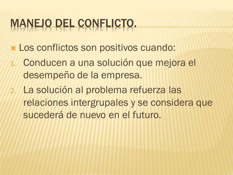 Los conflictos son positivos cuando: 1.