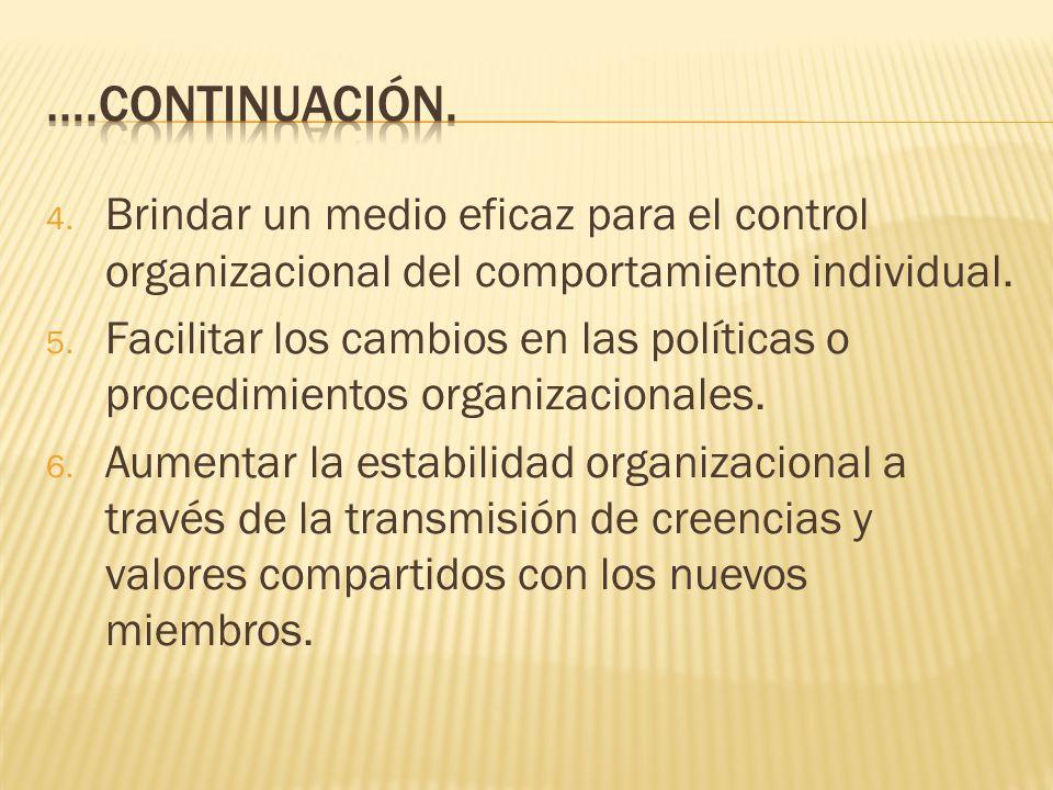 4.Brindar un medio eficaz para el control organizacional del comportamiento individual.