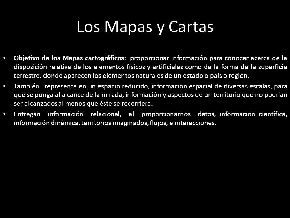 Los Mapas y Cartas Objetivo de los Mapas cartográficos: proporcionar información para conocer acerca de la disposición relativa de los elementos físicos y artificiales como de la forma de la superficie terrestre, donde aparecen los elementos naturales de un estado o país o región.