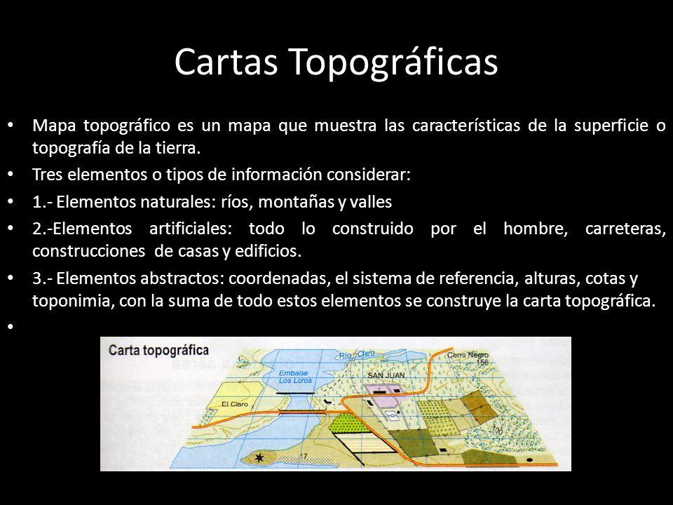 Componentes la Cartografía Topográfica Escala: mapas y planos deben poseer una escala, que es la relación o equivalencia numérica existente entre el tamaño real de la superficie terrestre y el tamaño del área representada en el mapa, valor que se expresa en unidades de medida espacial, es decir, entre dos puntos en el terreno y estos dos mismo puntos en el papel.