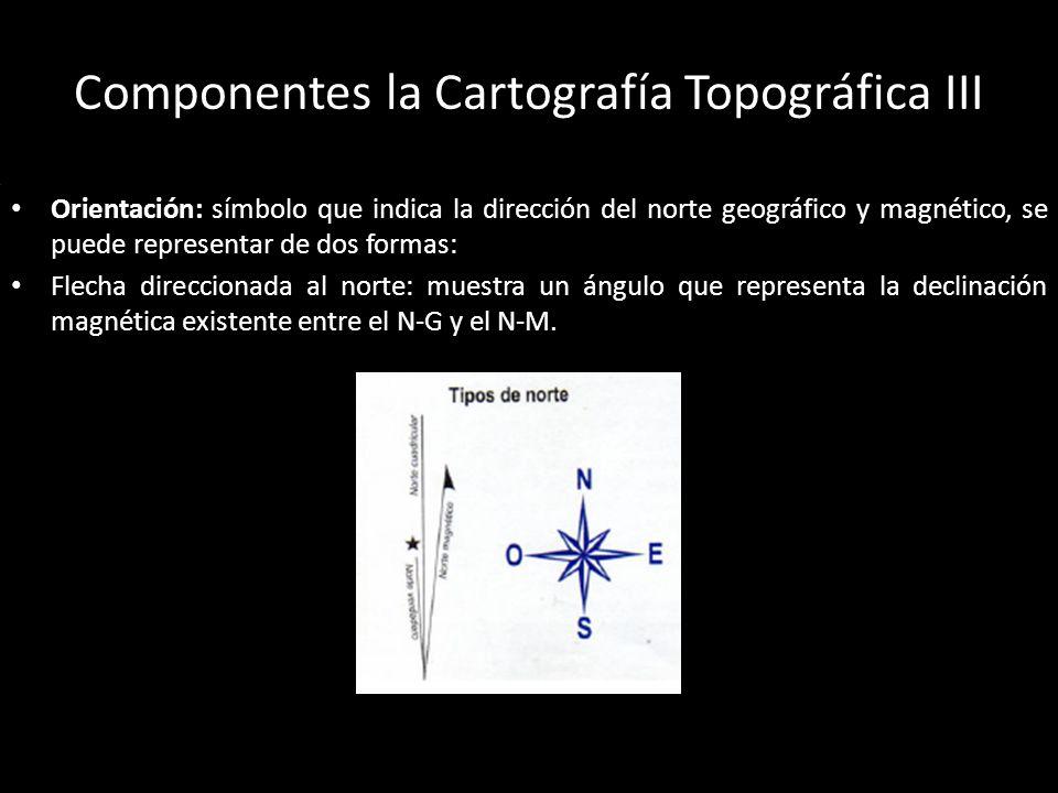 Componentes la Cartografía Topográfica III Información marginal de la carta: complementaria que permite la interpretación y análisis de la carta, como es, nombre y número de la carta, coordenadas geo.y UTM, datos geodésicos, equidistancias de las curvas de nivel, declinación magnética, proyección utilizada, simbología, etc.