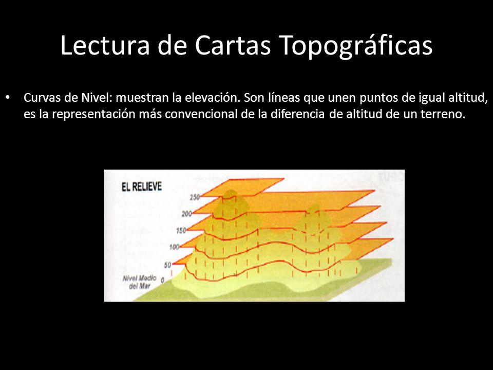 Interpretación de las Curvas de Nivel Distancia entre curvas: si las curvas de nivel se encuentran muy juntas corresponde a una zona de alta pendiente o muy inclinada, si están más distanciadas entre sí es una zona de poca pendiente o plano.