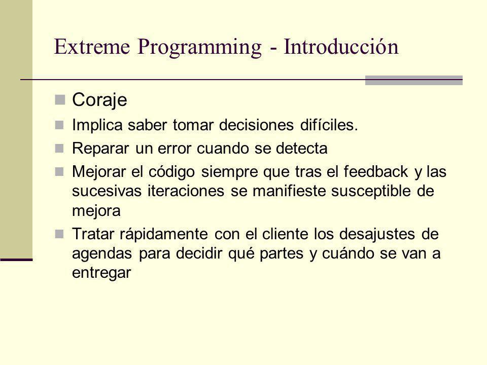 Extreme Programming - Introducción Coraje Implica saber tomar decisiones difíciles.