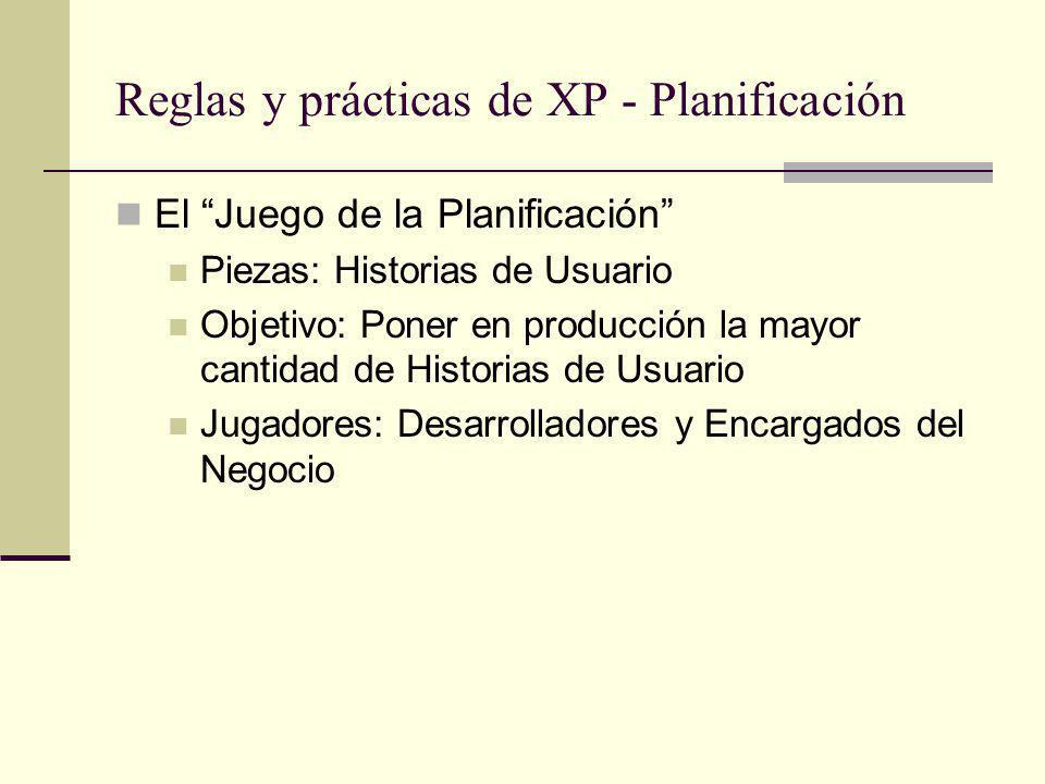 Reglas y prácticas de XP - Planificación El Juego de la Planificación Piezas: Historias de Usuario Objetivo: Poner en producción la mayor cantidad de Historias de Usuario Jugadores: Desarrolladores y Encargados del Negocio