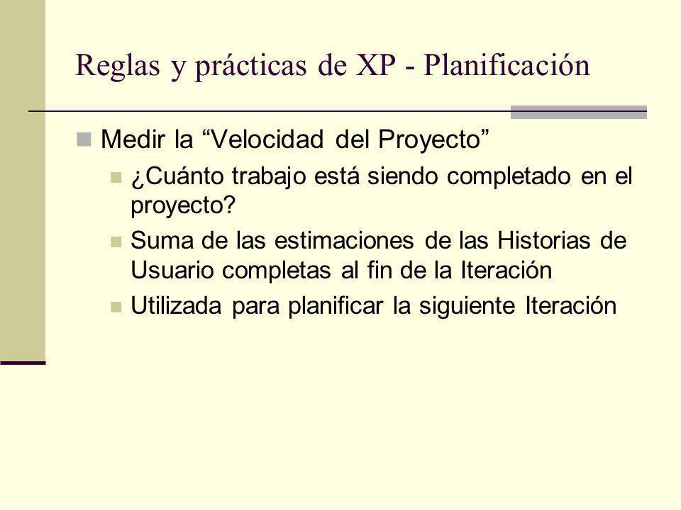 Reglas y prácticas de XP - Planificación Medir la Velocidad del Proyecto ¿Cuánto trabajo está siendo completado en el proyecto.