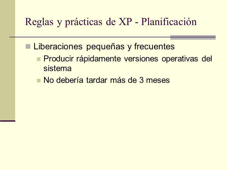 Reglas y prácticas de XP - Planificación Liberaciones pequeñas y frecuentes Producir rápidamente versiones operativas del sistema No debería tardar más de 3 meses