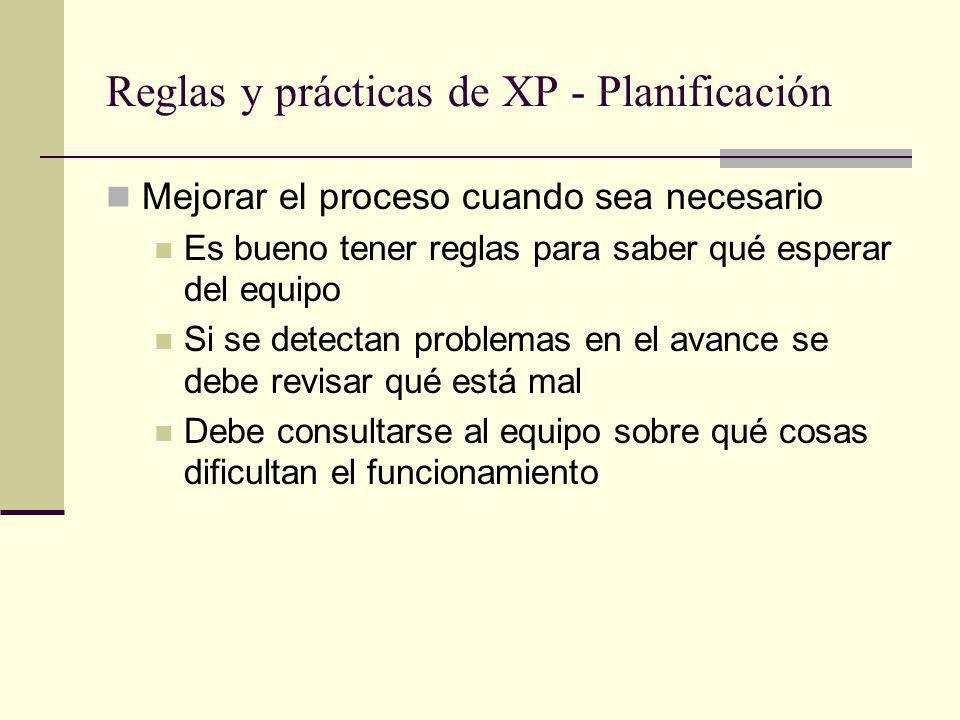 Reglas y prácticas de XP - Planificación Mejorar el proceso cuando sea necesario Es bueno tener reglas para saber qué esperar del equipo Si se detectan problemas en el avance se debe revisar qué está mal Debe consultarse al equipo sobre qué cosas dificultan el funcionamiento