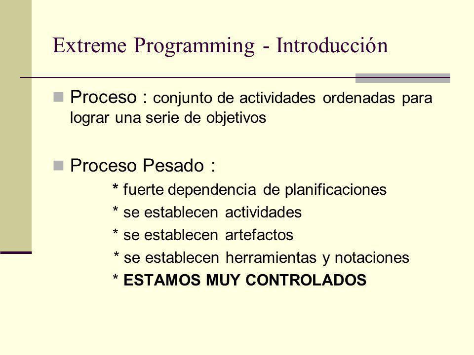 Extreme Programming - Introducción Proceso : conjunto de actividades ordenadas para lograr una serie de objetivos Proceso Pesado : * fuerte dependencia de planificaciones * se establecen actividades * se establecen artefactos * se establecen herramientas y notaciones * ESTAMOS MUY CONTROLADOS