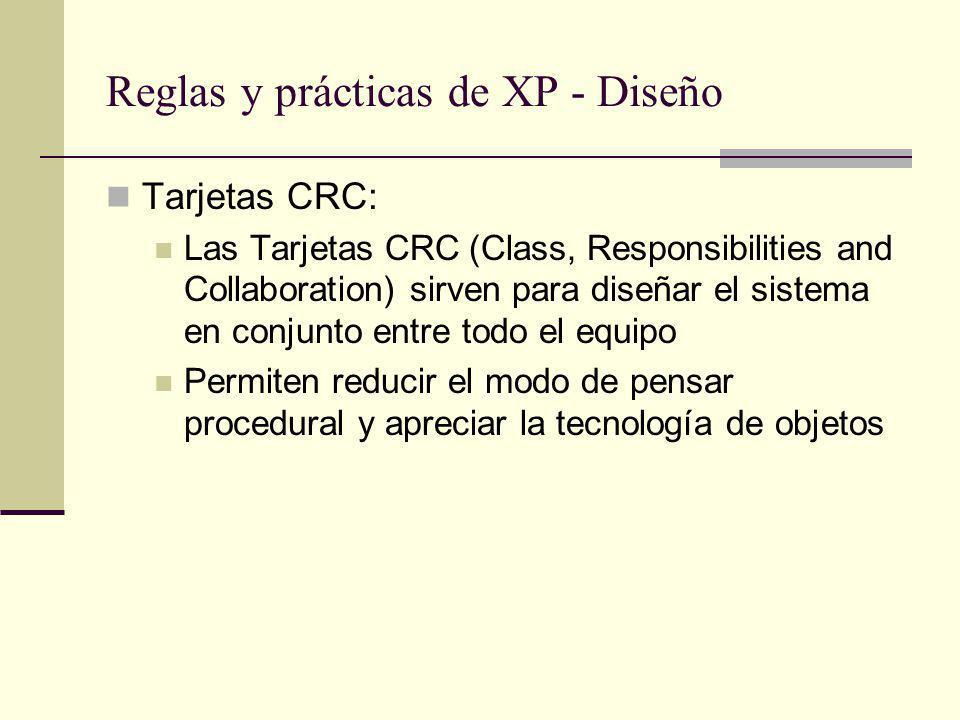 Reglas y prácticas de XP - Diseño Tarjetas CRC: Las Tarjetas CRC (Class, Responsibilities and Collaboration) sirven para diseñar el sistema en conjunto entre todo el equipo Permiten reducir el modo de pensar procedural y apreciar la tecnología de objetos