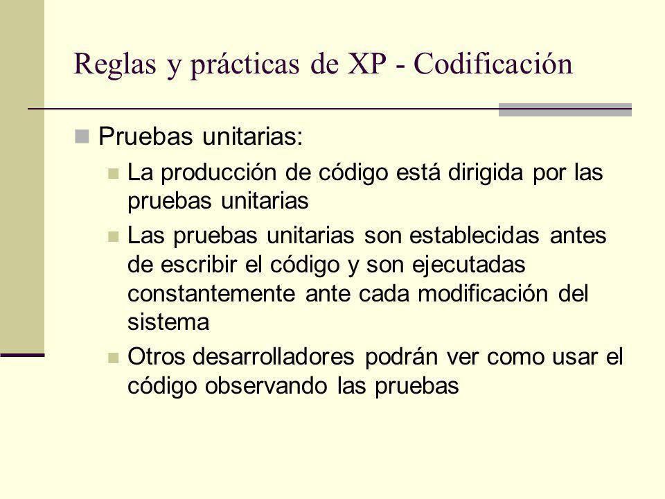 Reglas y prácticas de XP - Codificación Pruebas unitarias: La producción de código está dirigida por las pruebas unitarias Las pruebas unitarias son establecidas antes de escribir el código y son ejecutadas constantemente ante cada modificación del sistema Otros desarrolladores podrán ver como usar el código observando las pruebas