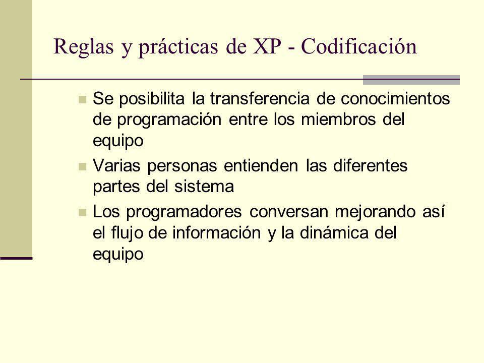 Reglas y prácticas de XP - Codificación Se posibilita la transferencia de conocimientos de programación entre los miembros del equipo Varias personas entienden las diferentes partes del sistema Los programadores conversan mejorando así el flujo de información y la dinámica del equipo