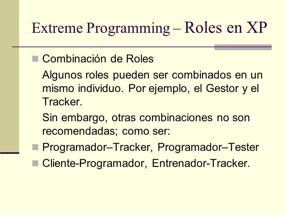 Extreme Programming – Roles en XP Combinación de Roles Algunos roles pueden ser combinados en un mismo individuo.