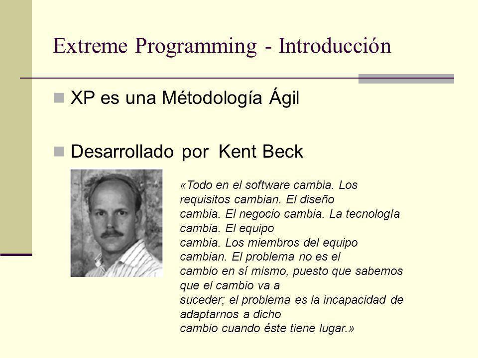 Extreme Programming - Introducción XP es una Métodología Ágil Desarrollado por Kent Beck «Todo en el software cambia.