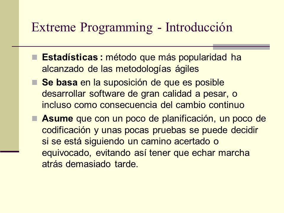Reglas y prácticas de XP - Codificación Estándares de programación: XP enfatiza la comunicación de los programadores a través del código, con lo cual es indispensable que se sigan ciertos estándares de programación Mantienen el código legible para los miembros del equipo, facilitando los cambios